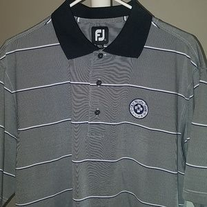 Footjoy silky golf polo grey and white size large